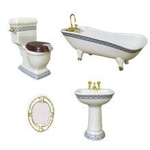 1:12 Miniature Bath Accessory Bathtub Toilet Sink Mirror, 4 Piece Dollhouse Bathroom Accessories, Dollhouse Decorations Kit