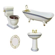 1:12 minyatür banyo aksesuarı küvet tuvalet lavabo ayna, 4 parça Dollhouse banyo aksesuarları, Dollhouse süslemeleri seti