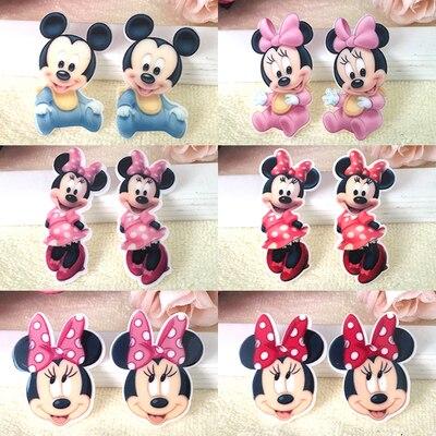 Kawaii dessin animé Mickey Figurine Minnie artisanat dos plat résines arc  bricolage épingle à cheveux accessoires