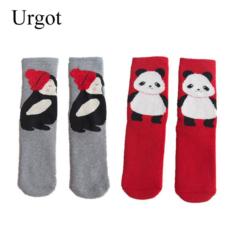 Urgot 5 Pairs New Autumn Wnter Cotton Women's Socks Female Cartoon Qnimal Terry Socks Thicken Warm Tube sock Hosiery Calcetines