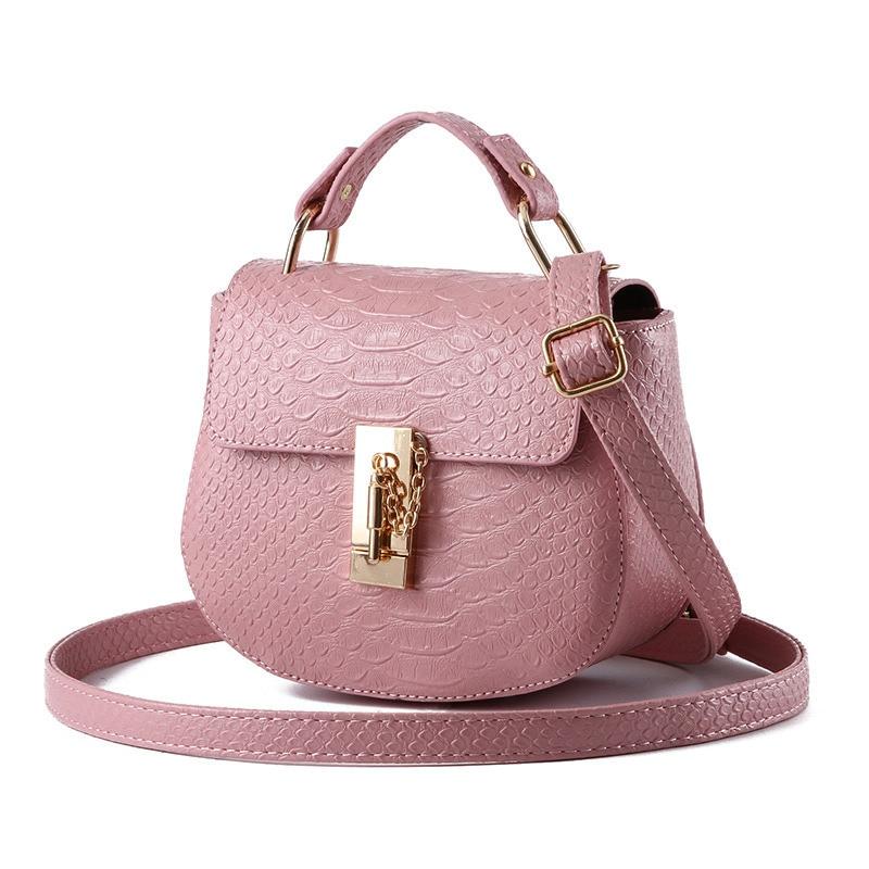 Fashion PU Women Handbag Dark Pink Girls' Shoulder Bag Casual Crossbody Messenger Lock Zipper  fashion small rectangle pu women shoulder bag pink handbag crossbody messenger rivets decoration ajustable straps