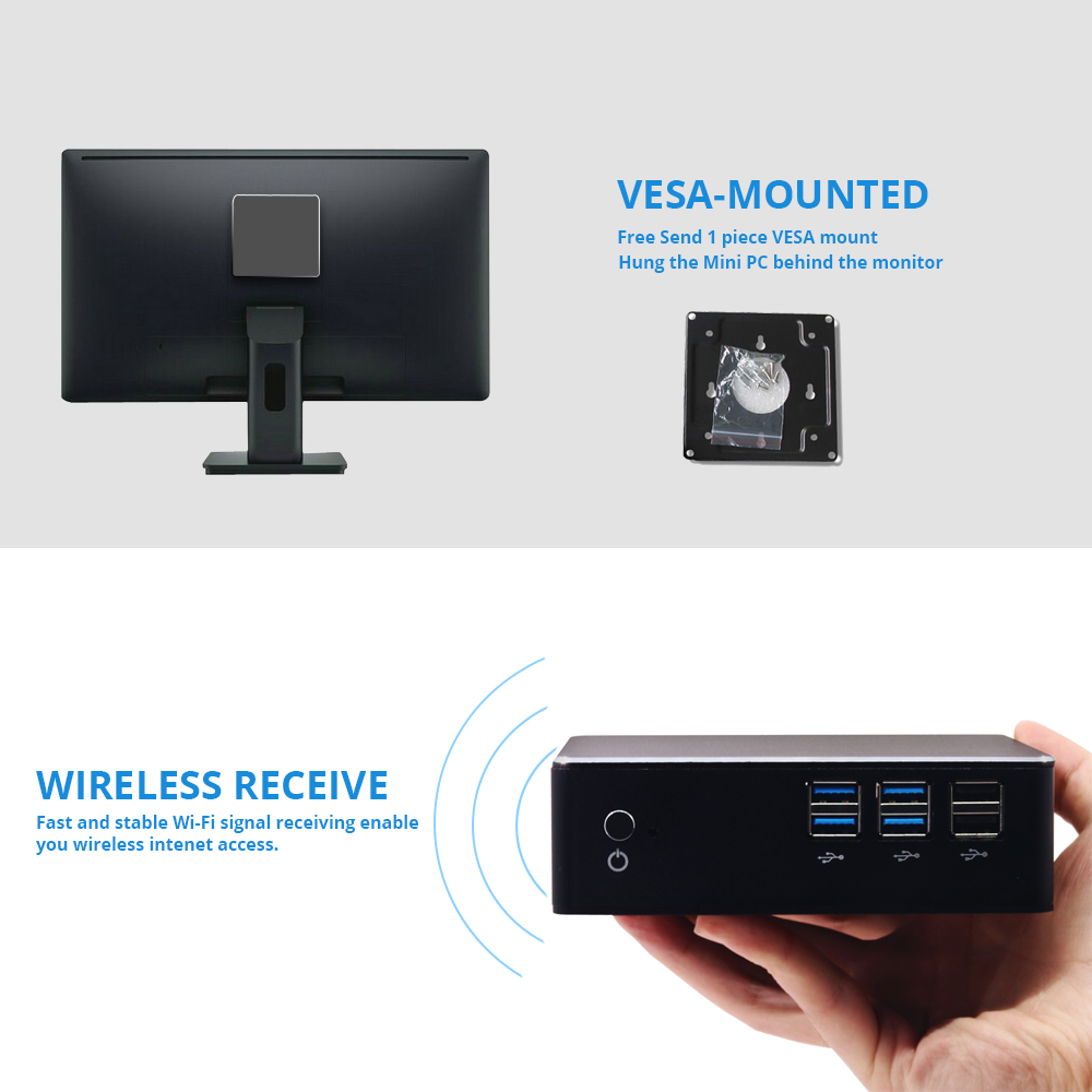Image 4 - Mini PC Windows 10 Intel Core i7 7500U i5 7200U i3 7100U Intel HD Graphics 620 HDMI VGA 4K 300M WiFi Gigabit Ethernet-in Mini PC from Computer & Office