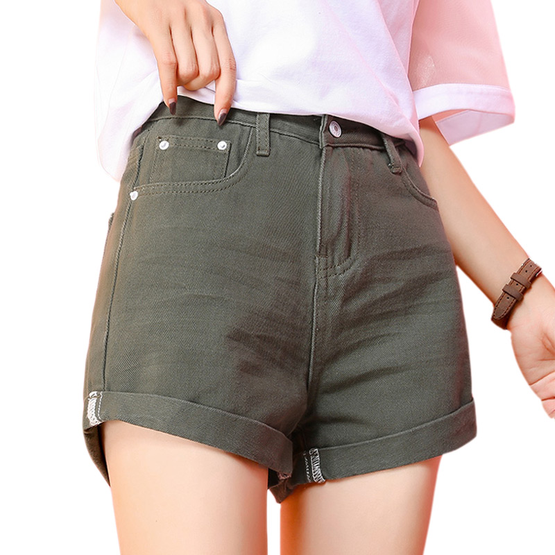 Loose Casual Crimping High Waist   Shorts   Women Denim   Shorts   2018 Fashion Ladies Summer Jeans For Women Fold Wide Leg   Shorts