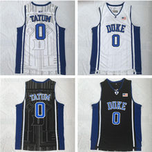 d126393e9ee Duke Blue Devils 0 Jayson Tatum White Blue Embroidery Stitched College  Basketball Jersey Size S