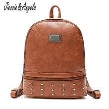 Jiessie&Angela Women Backpack Rivets Designer PU Leather Bag Causal School Bags Large Capacity Backpacks Travel