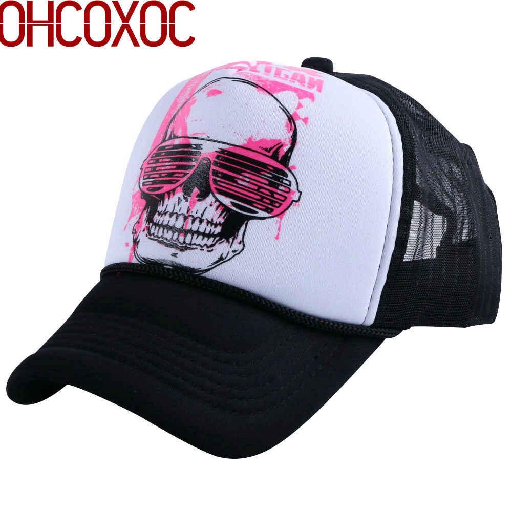 7ee4e129 men women novetly summer baseball cap sunshade style hats print SKULL head  pattern mesh cool hip
