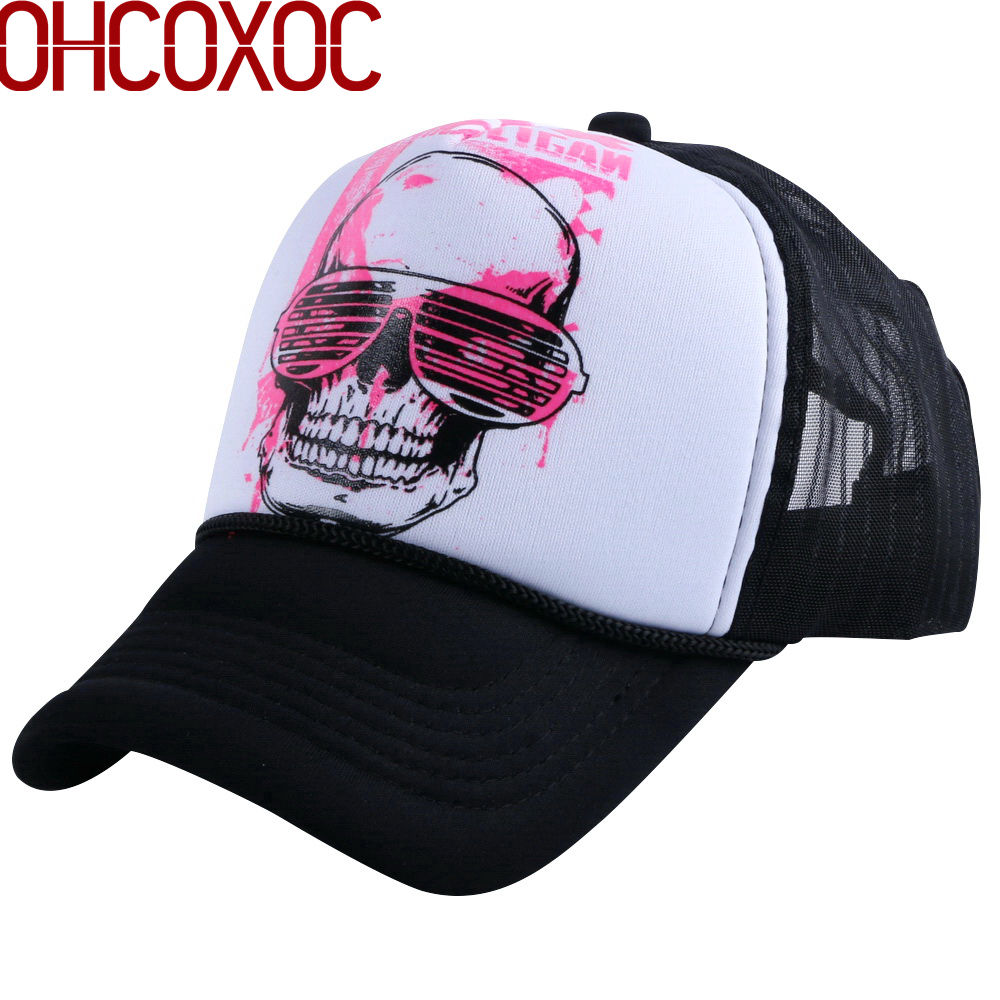 men women novetly summer   baseball     cap   sunshade style hats print SKULL head pattern mesh cool hip hop unisex casquette gorras