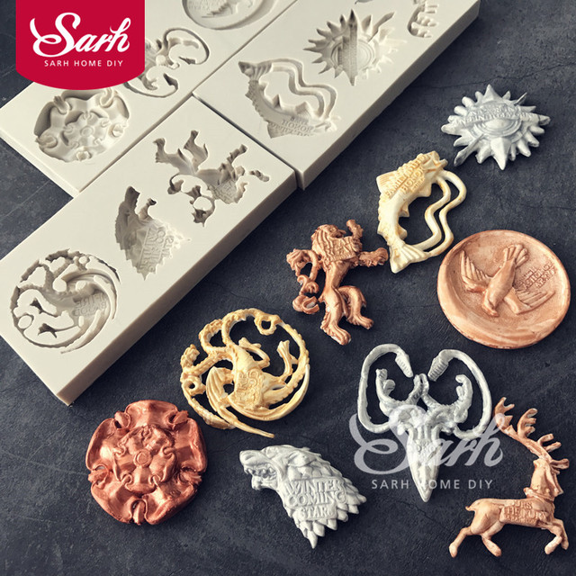 Game Of Thrones Family Badges Shape Fondant Cake Molds Chocolate Mold For  The Kitchen Baking Decoration