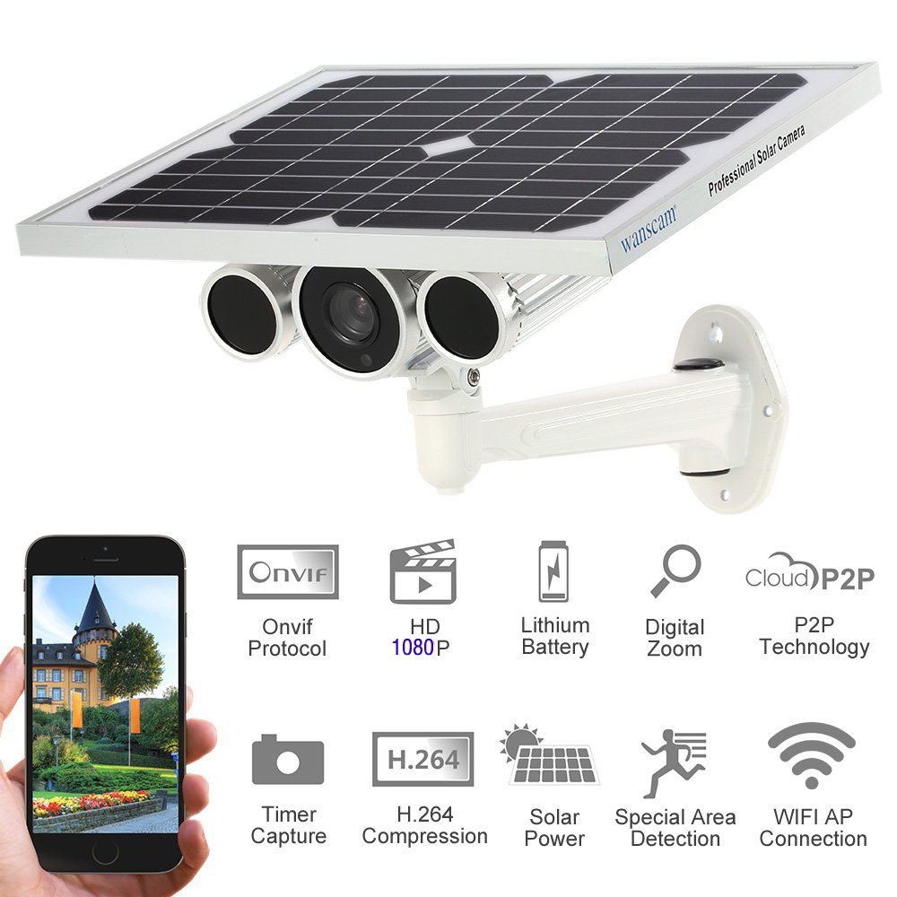 SmartYIBA Wi-fi 1080 P Câmera IP Câmera de Vigilância de Vídeo Sem Fio de Energia Solar Ao Ar Livre P2P 2.0MP Onvif CCTV Câmera de Visão Noturna
