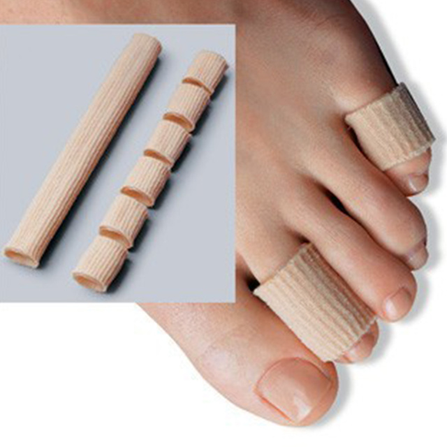 New Fiber silicone khaki Gel Toe Finger Protection Foot Health Care Product Toe Protector #