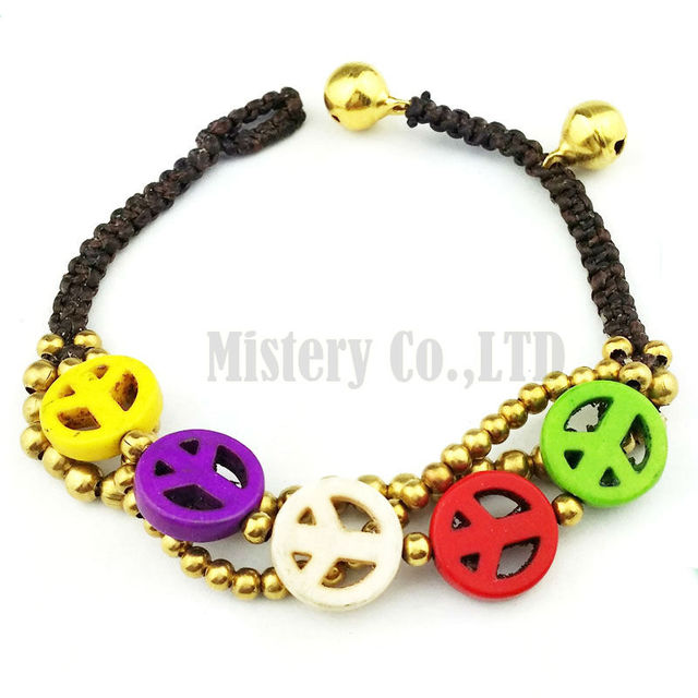 Colorful Peace Symbol Beaded Round Antique Gold Chain Braided Hand