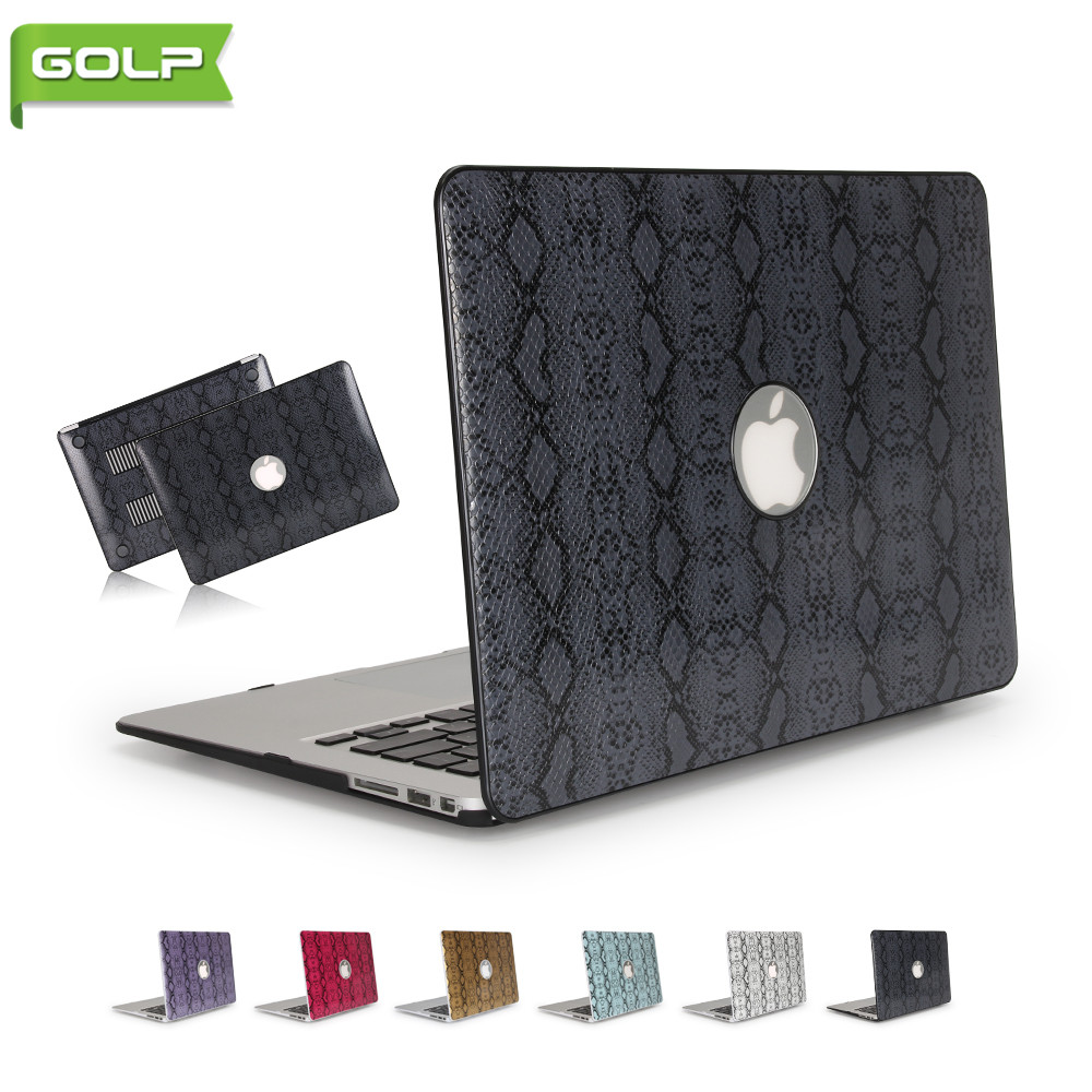Cover & Case For Macbook Air 13.3, GOLP Luxury Snake Skin Pattern Grain PU Leather Cover Anti-slip Hard PC Back Laptop Shell