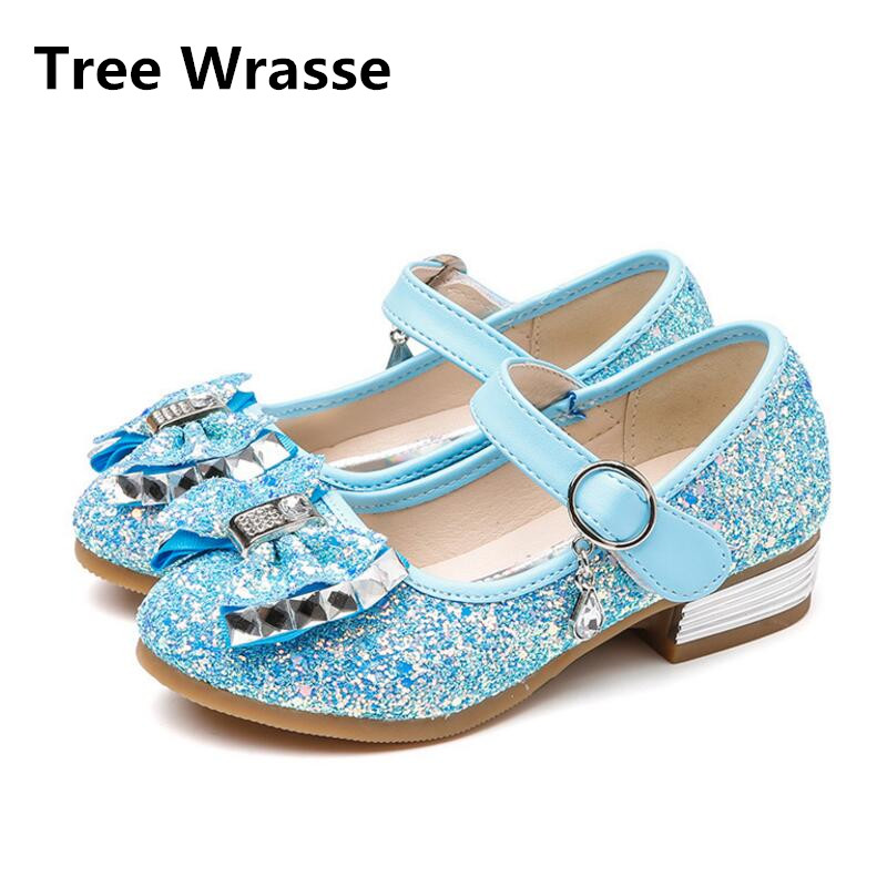 bb39b8b898c529 2018 Spring Children Leather Party Shoes Low Heels Girls Wedding Sandals  Kids Casual Wild New Bowknot Princess Single Shoes