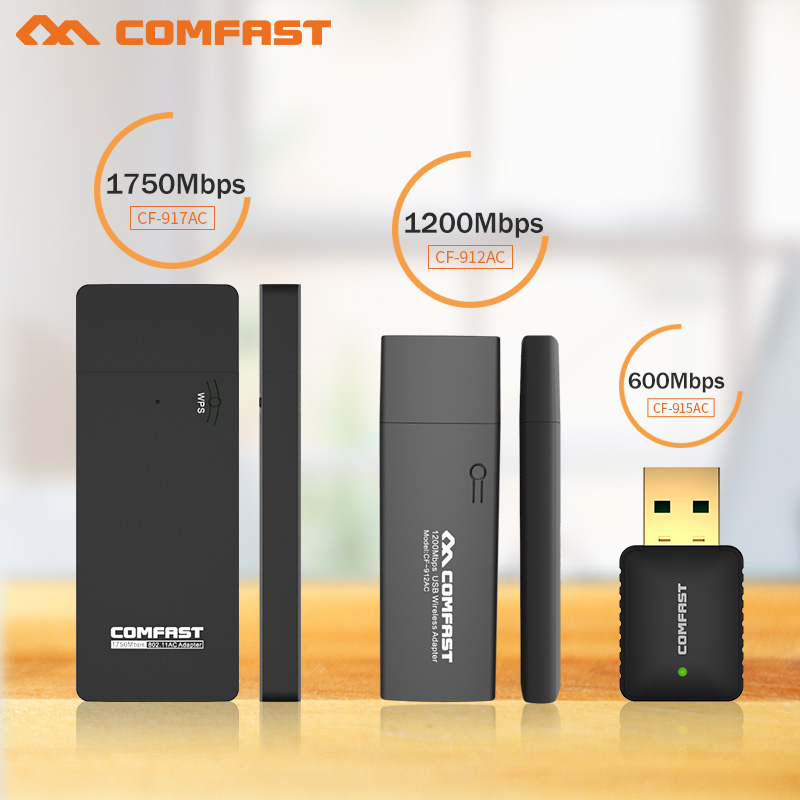 COMFAST 600M/1200M/1750Mbps Usb Wireless Network Card 802.11AC Dual Band 2.4Ghz/5Ghz USB Wireless WI-FI Adapter &AC WI-FI Dongle