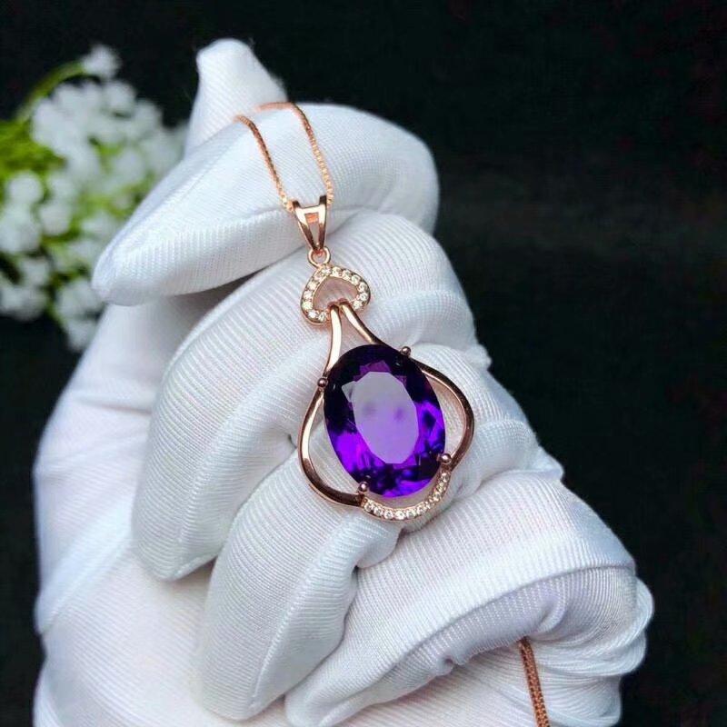 925 silver Piezoelectricity Amethyst pendants send necklace classic wholesale Fine women new gift bz121601agz