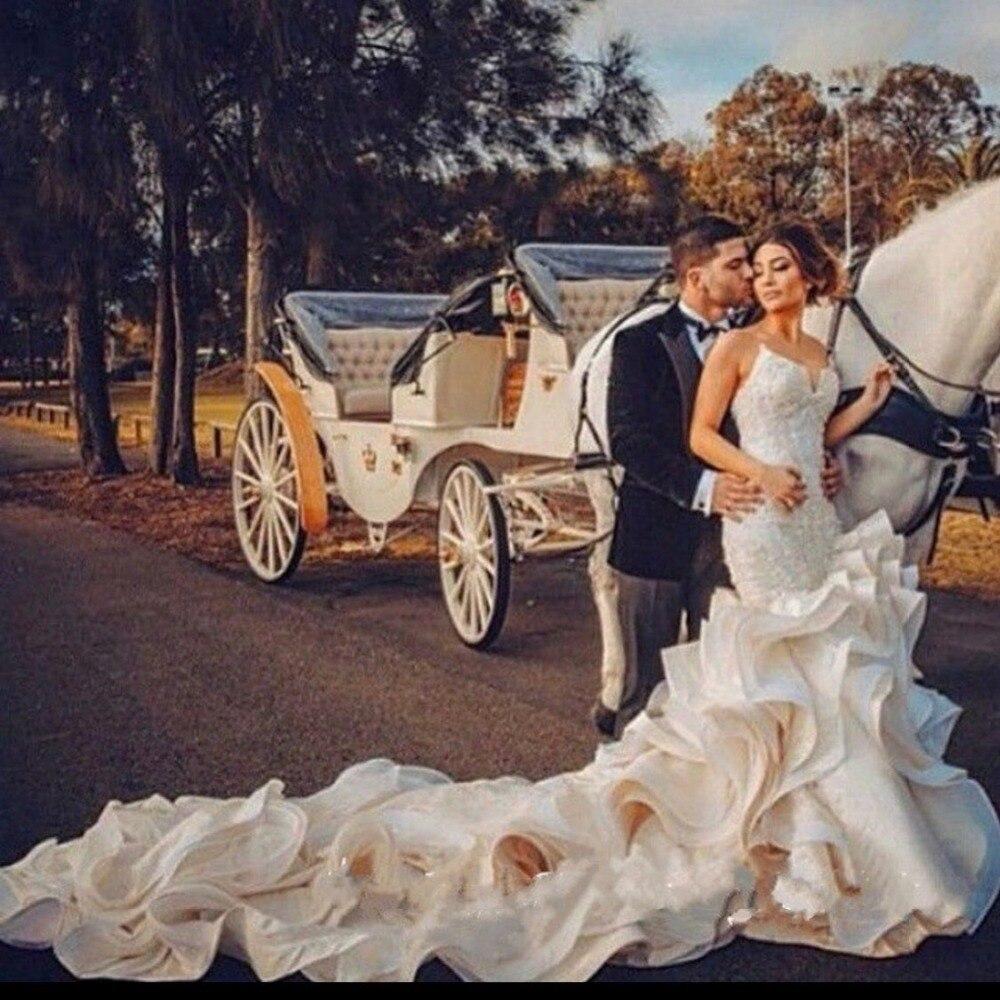 Lacets À Robes Vintage 2019 De Casamento Noiva Perlée Mariée Ruches Robe Dentelle Chérie Luxe Sirène IPIxqvAZw