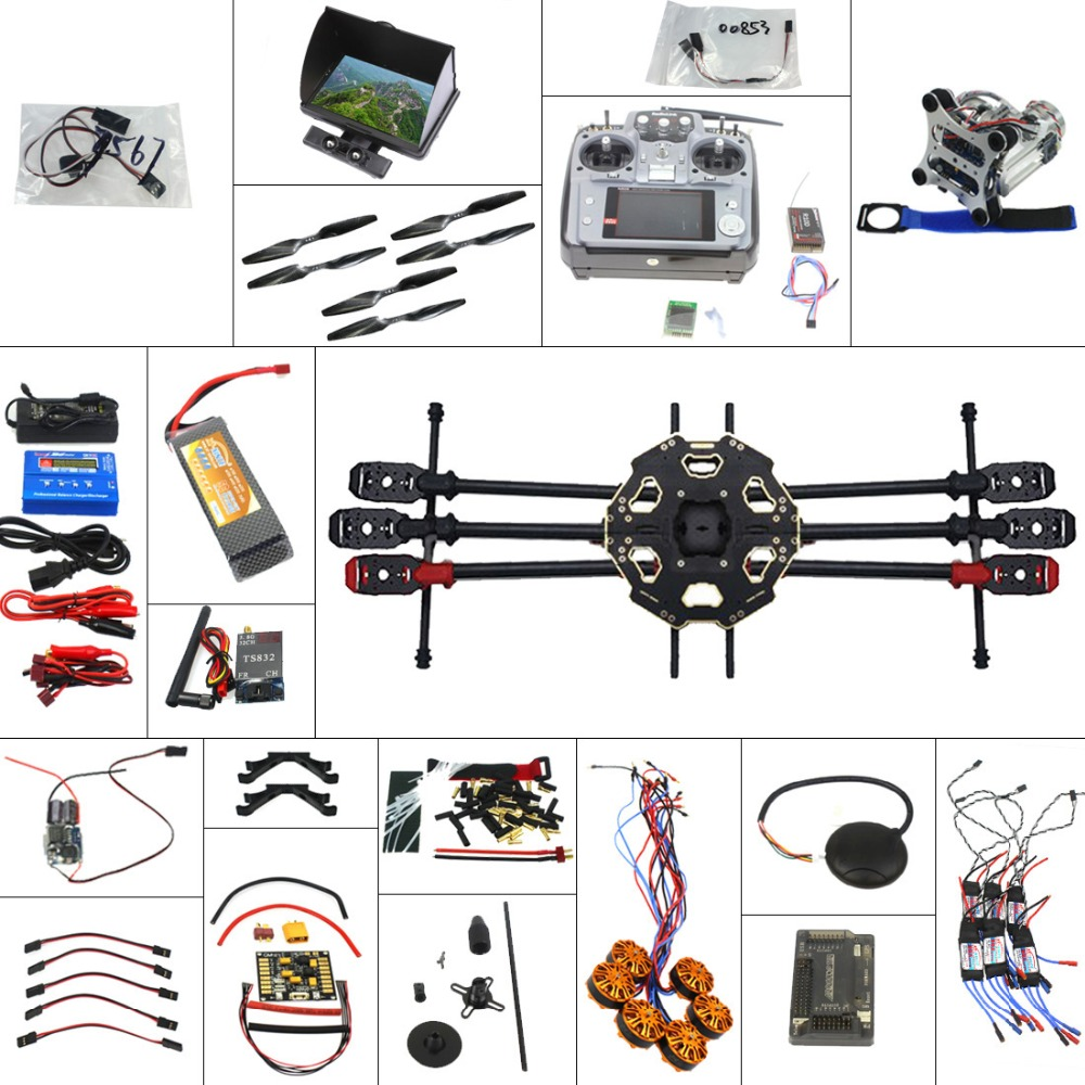 Full Set 6-axis Aircraft Kit Helicopter Tarot 680PRO Frame APM 2.8 Flight Control AT10 Transmitter with FPV Function F07807-E tarot tl68b14 6 axis aircraft hexcopter fy680 fy650 inverted battery rack ship with tracking number