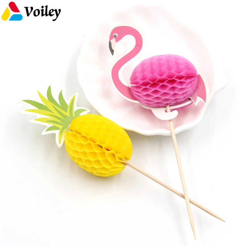 50pcs Flamingo Pineapple Cupcake Topper Kids Birthday Cake Decoration Props Hawaii Party Summer Pool Party Decoration Supplies,0