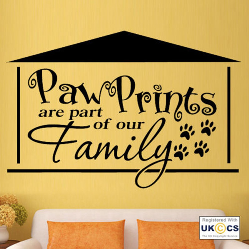 ZN Paw Prints Family Cat Dog Animal Pet Love Wall Art Stickers Vinyl ...