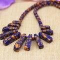 6mm ronda perlas de imitación colorida Phoenix lapislázuli turquesa collar de piedra 15-39mm 11 unids rectángulo colgante joyería 18 inch B3137