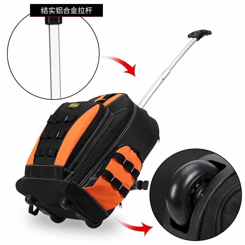 Рюкзак для инструментов, многофункциональная сумка для инструментов, ящик для инструментов электрика, универсальный чехол для путешествий, многофункциональные карманные водонепроницаемые сумки для инструментов с тележкой