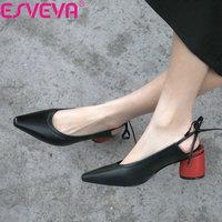 ESVEVA 2019 High Heels Women Pumps Shoes Lace Up Slingback Square Heels Shallow Women PU Shoes Pumps Pointed Toe Size 34 39