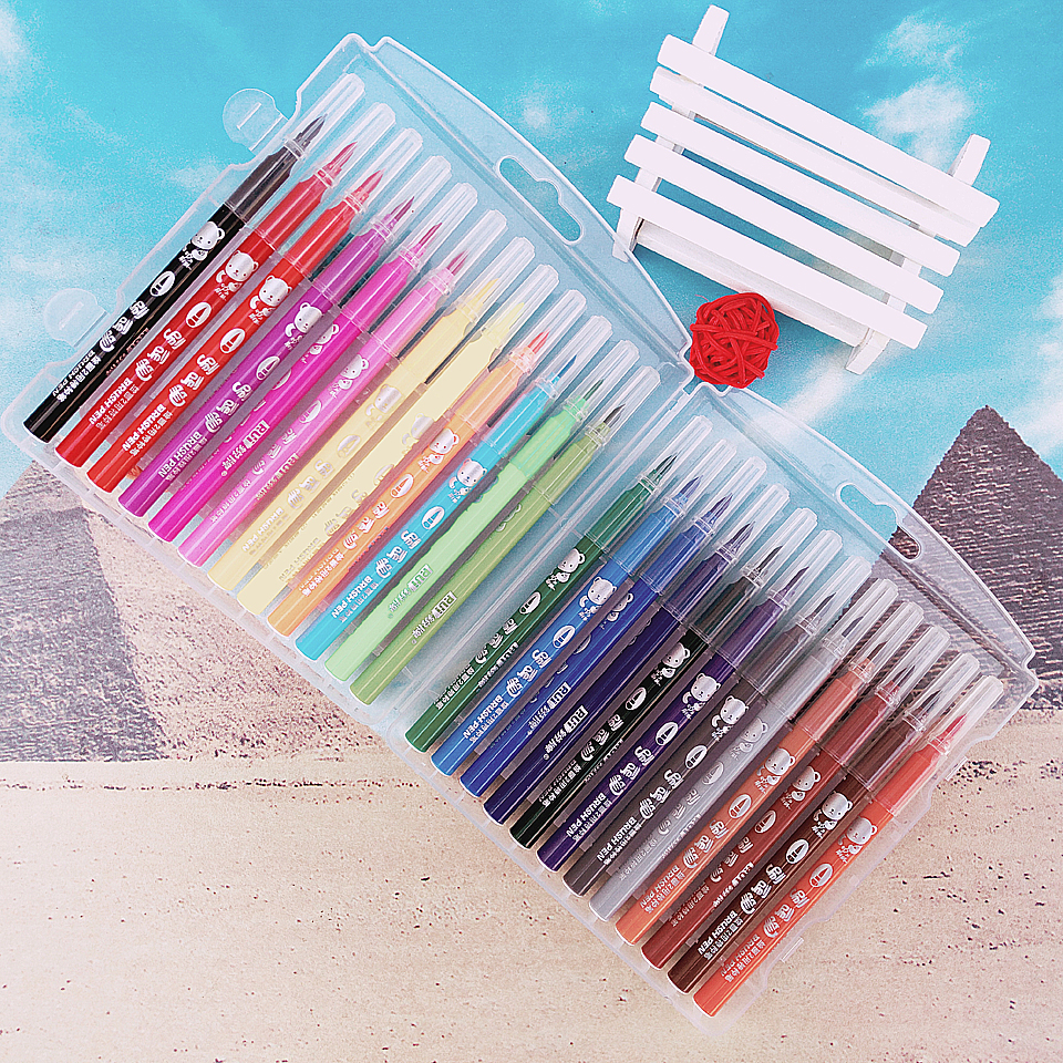 12-18-24colors Watercolor Brush Manga Markers Soft Nib Color Marker Pen Sketch Manga Graphic Drawing Gift For Kid touchnew 60 colors artist dual head sketch markers for manga marker school drawing marker pen design supplies 5type