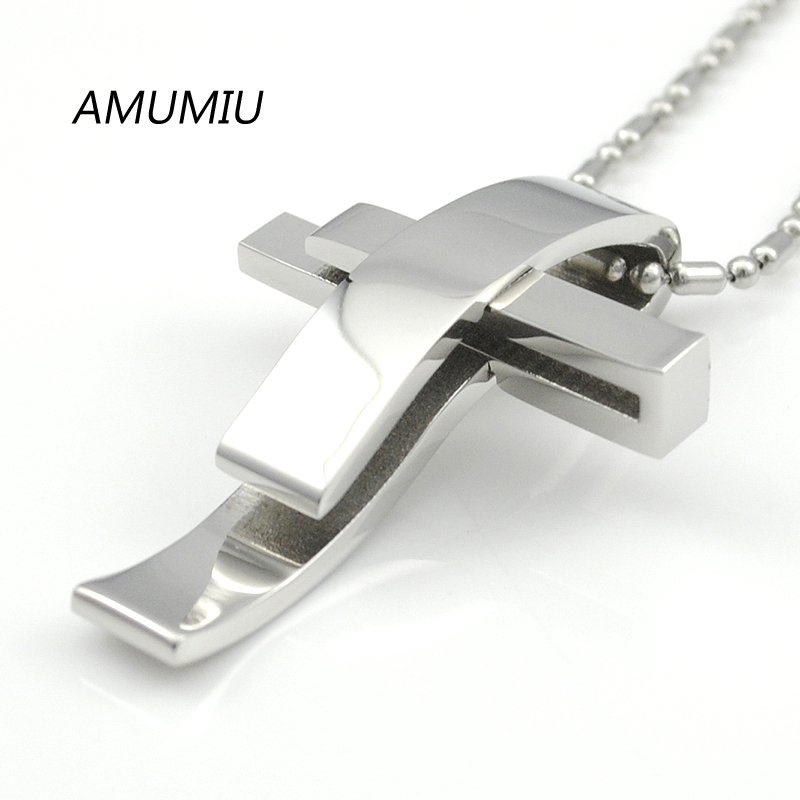 AMUMIU Silver Color Cross Stainless Steel Pendant Necklace Men Women Chain Jewelry Christmas Gifts Wholesale KP101