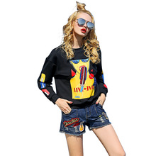 2017 Women Sweatshirts Blouses Shirt Tops Embroidery Sequins Ladies Clothing Cropped Casual Crop hoodie Boho Jacket