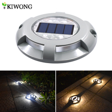 Solar Road Stud Lighting Aluminum 4 LED Outdoor Road Driveway Dock Path Ground Light Lamp Warm White And White Light