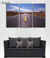 Modern Canvas Posters Home Decor Wall Art Pictures 3 Pieces Sunset Dusk Highway Landscape Paintings Living