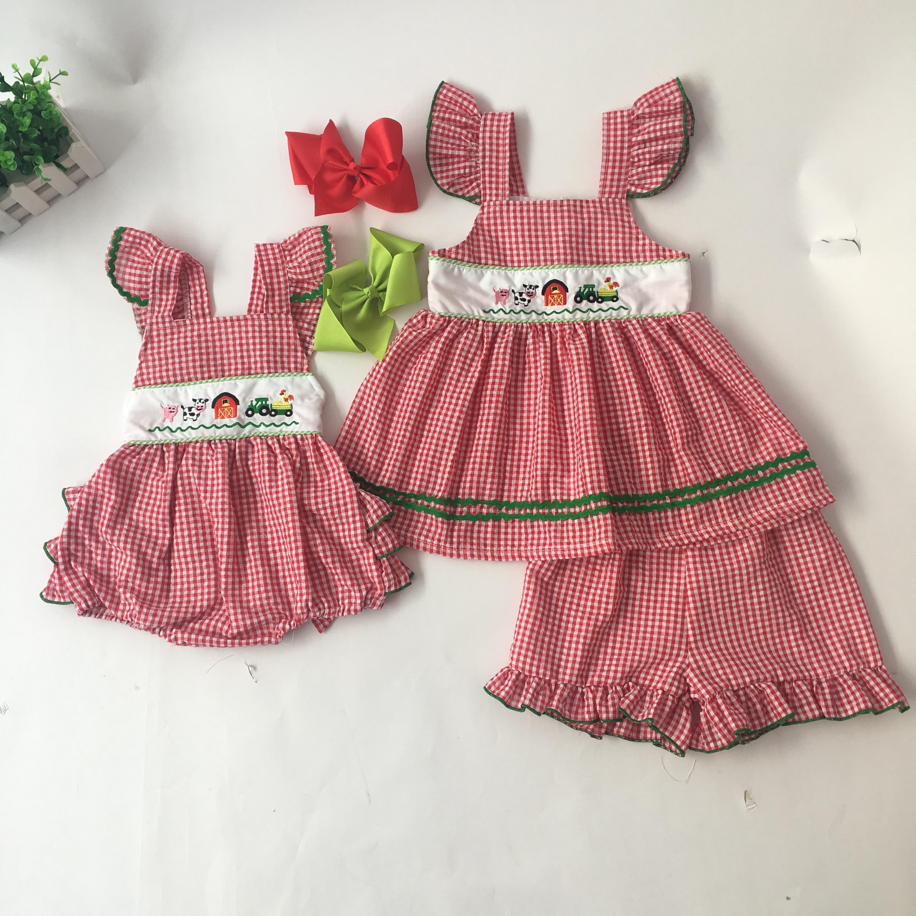 Puresun Fashion Summer Sibling Design Girls Romper Cartoon Pattern Embroidery Bubble Boy Red Gingham Boutique Jon Jon Baby Cloth