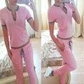 2016 Mujeres Del Verano Traje de Manga Corta Con Cuello En V de Algodón Puntada 2 Unidades Sexy Sudadera + Pants de Señora De La Marca Camisetas Chándales