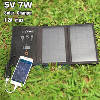 FOXSUR 5V 7W Outdoor Solar Charger Panel 5V 1 2A Max Foldable Charger Portable Travel Charger