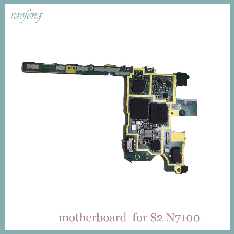 Raofeng high quality For Samsung Galaxy Note 2 N7100 Motherboard  Unlocked mainboard  with chips Logic Board(China)