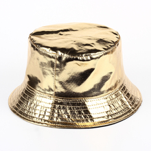 2017 new hip hop Casual tide brand Gold and silver Bright color bucket hat leather bucket hats fashion men camping fishing hat