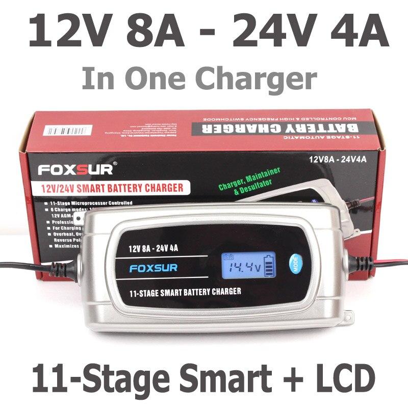 FOXSUR 12 V 8A 24 V 4A 11-stage Caricabatterie Intelligente Della Batteria, 12 V 24 V EFB GEL AGM BAGNATO Auto Caricabatteria con display LCD e Desulfator