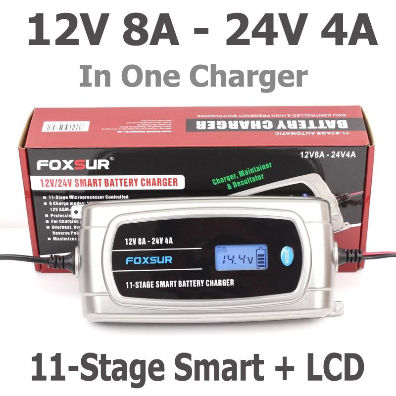 Foxsur 12 V 8A 24 V 4A 11 etapas cargador de batería inteligente, 12 V 24 V EFB agm gel húmedo coche cargador de batería con pantalla LCD y desulfatador