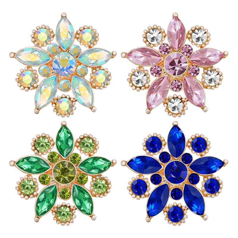 New Beauty Rhinestone Flowers Golden/Silver Colorful 18mm Snap Buttons Fit 18mm Snap Necklace Jewelry Wholesale Women Gift