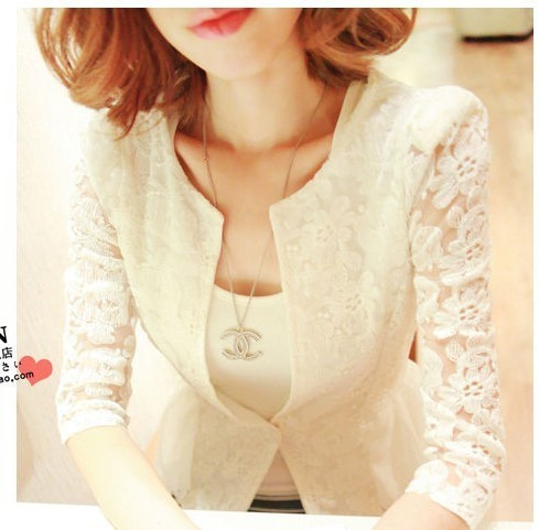 Sexy Women's Lace Long Sleeve Blouse Fashion Korea Style Ladies Slim Fit Swing Dress Shirt Free Shipping