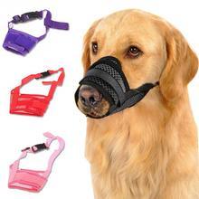 Muzzle Wire-Basket Pet-Dog-Mouth-Cover Anti-Bite Nylon Dog Reusable Mesh Metal Black