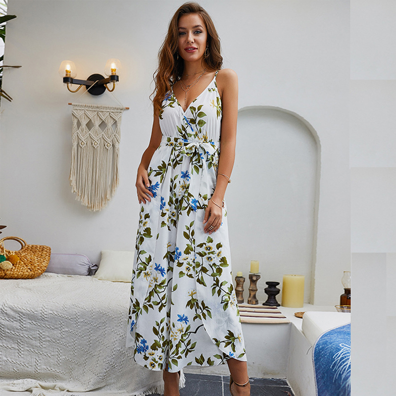 Simple Sexy Floral Print Jumpsuits Women V Neck Backless Spaghetti Strap Long Overalls Summer Beach Loose Female Jumpsuit 2019 Price $16.73