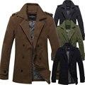 Adolescente masculina de invierno abrigo de lana Delgada larga de doble botonadura abrigo de lana gruesa lana cálido cazadora envío libre H1933