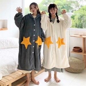 Image 5 - Robe de nuit femme, vêtements de nuit à manches longues, avec capuche en flanelle, vêtements de nuit princesse mignonne, en molleton, WZ619