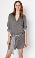 EQ 100% шелк 19momme пятиконечная Принт звезды лента ремня Длинные рукава Леди Блузки типа платье Женщины Кейт Мосс Soie длинная рубашка