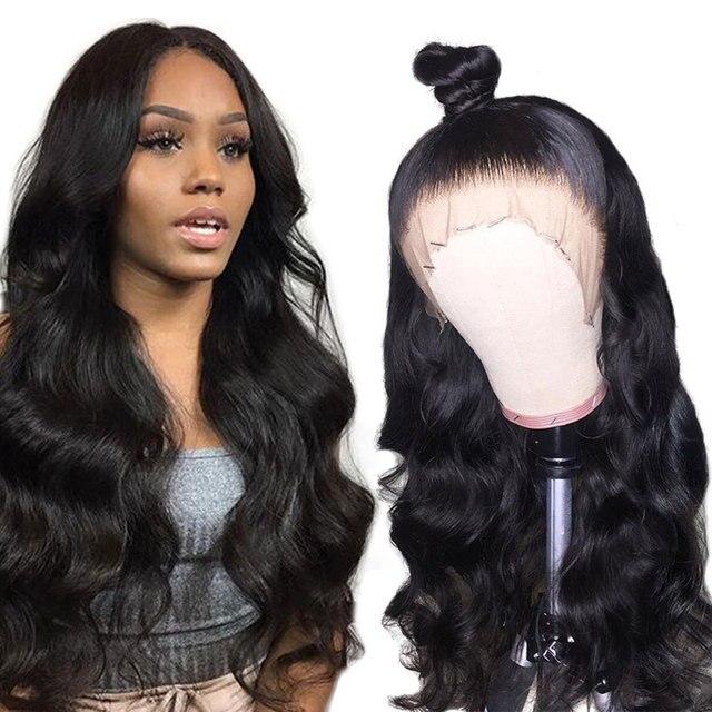 Peluca brasileña de la onda del cuerpo de Alibele peluca Frontal de encaje Pre desplumado Peluca de pelo Remy 150% 13x4 frente de encaje humano peluca de pelo para mujeres negras