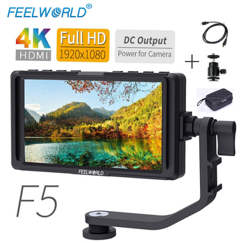 FEELWORLD 5 Inch IPS DSLR Camera Field Monitor 4K HDMI 1920x1080 DC Output LCD Monitor for Sony Nikon with Bag Hot Shoe Mount F5