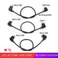 Data Cable For DJI Spark/MAVIC Pro/Mavic 2 Air Control Micro USB to Lighting/type C/Micro USB line for IPhone For Pad For xiaomi