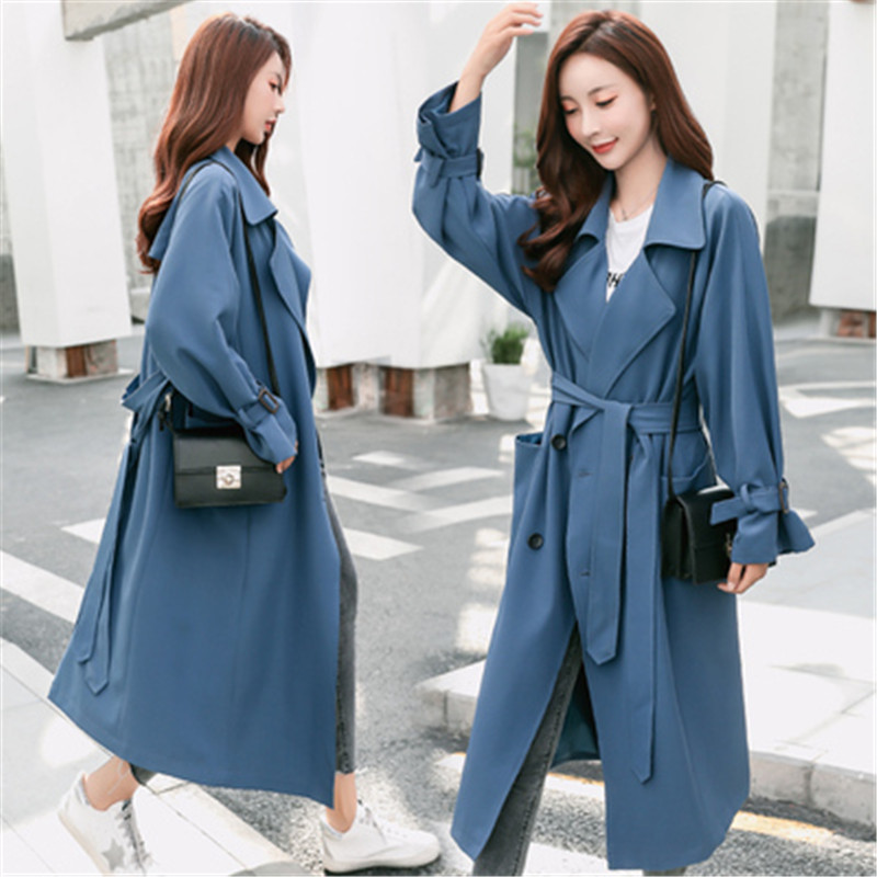 Long Trench Coat Women 2019 Spring Autumn Double-breasted Loose Casual Tops Long sleeve Windbreaker Female Coats Outerwear  X731