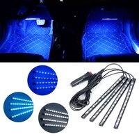 OKY 자동차 스타일링 4x12 LED 자동차 충전기 네온 인테리어 조명 램프 스트립 12 볼트 방수 Flexib 4in1 분위기 아이스 블루/화이트/블루